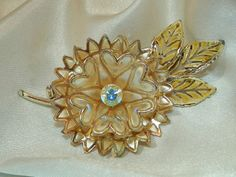 Pretty-Coro-Signed-Vintage-50s-Rhinestone-Plique-A-Jour-Flower-Brooch-241AG6