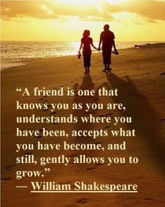 "Inspirational Quote of the day: William Shakespeare ""A friend is one that knows you as you are, understands where you have been, accepts what you have become, and still, gently allows you to grow."""
