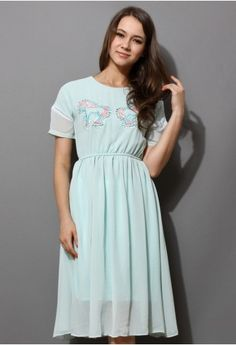 Mint Blue Pony Embroidery Cut Out Dress