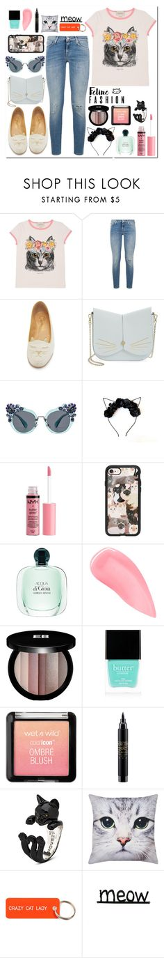 """""""Cat-Astic 🐱🐱"""" by dancewithshira ❤ liked on Polyvore featuring Gucci, 7 For All Mankind, Charlotte Olympia, Ted Baker, Miu Miu, Charlotte Russe, Casetify, Kevyn Aucoin, Edward Bess and Butter London"""