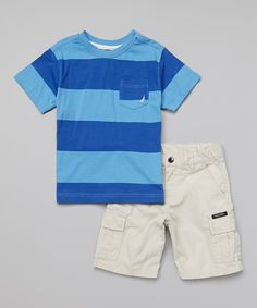 Love this Nautica Blue Stripe Tee & Khaki Shorts - Infant & Toddler by Nautica on #zulily! #zulilyfinds