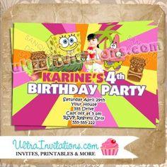 Luau Spongebob Girl Invitations Personalized Invites Concert Tickets Birthday Parties Party