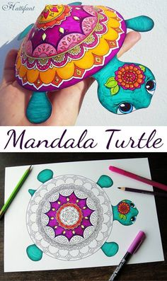 Mandala Turtle (rare species) – Coloring Papercraft - Diy and Crafts Summer Crafts, Diy And Crafts, Crafts For Kids, Arts And Crafts, Creative Crafts, Easy Crafts, Mandala Turtle, Mandala Art, Turtle Crafts