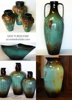 Tuscan Old World Vases in Turquoise Blue ~ perfect for Tuscan Decorating.