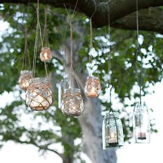 Glass & Twine Lanterns - good way to use mason jars or any glass jars!