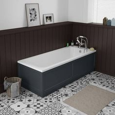 SHOP the Chatsworth 1700 x 700 Single Ended Bath + Grey Panels at Victorian Plumbing UK Bathroom Styling, Bathroom Interior Design, Old Fashioned Bathtub, Traditional Bathroom Furniture, Victorian Style Bathroom, Edwardian Bathroom, Tongue And Groove Panelling, Traditional Baths, Family Bathroom