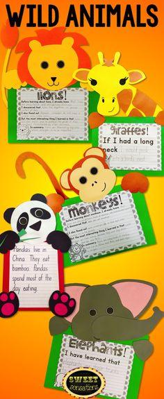Lion, giraffe, monkey, panda and elephant craft activities to enhance your teaching of wild animals or zoo animals.