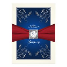 Discount DealsRed Ivory Blue Floral Monogram Wedding InvitationIn our offer link above you will see