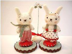 felted rabbit pair