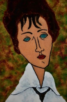 Mid 20th Century Enamel Painting after Amedeo Modigliani | Portrait of a Woman in a Black Tie | Made in Italy | www.KLCollection.com