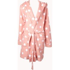 Forever 21 Women's  Sweet Side Polka Dot Robe (46 BRL) ❤ liked on Polyvore featuring intimates, robes, pajamas, sleepwear, dressing gown, bath robes, tie belt, hooded bathrobe and forever 21 robe