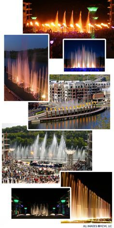 Branson Landing Fountains - synchronized to music - several different shows starting on the hour noon to 10 pm daily