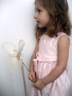 Flower Girl Wand Rustic Butterfly with Ribbon Streamers Toddler Flower Girls, Flower Girl Wand, Fairy Wands, Family Crafts, Rings For Girls, White Pumpkins, Masquerade Ball, A Pumpkin, Streamers