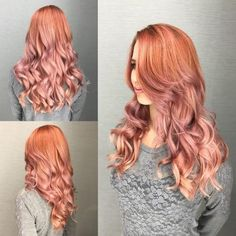 Top 18 Rose Gold Hair Color Ideas Trending in 2019 – Magnolias Linens – hairtrends Magenta Hair Colors, Hair Color Auburn, Auburn Hair, Red Hair Color, Curly Hair Coloring, Copper Rose Gold Hair, Rose Hair, Trending Hairstyles, Trends