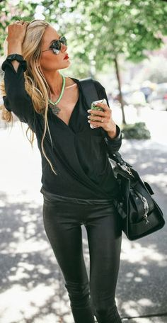 black style, black fall, fall fashions, black outfits, fashion styles, leather pant, red lips, leather leggings, fall styles