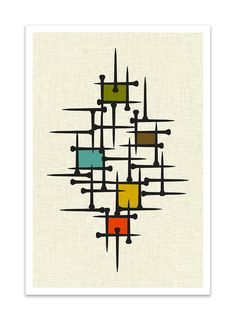 TACK  Giclee Print  Mid Century Modern Danish Modern by Thedor, $24.00