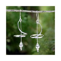 @Overstock - Add a touch of beauty with these delicate sterling-silver drop earrings. Reminiscent of a ballet dancer, slim ribbons circle an elegant drop stem with a petite silver ball. Aoy in Thailand crafted this refined design for today's modern woman.http://www.overstock.com/Worldstock-Fair-Trade/Sterling-Silver-Pirouette-Drop-Earrings-Thailand/5836257/product.html?CID=214117 $28.99