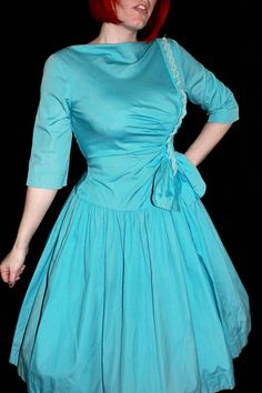 Vintage 1950s Blue Ruched Cotton Cocktail Dress $50.00