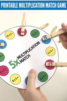 Printable times table game: Multiplication Peg Match
