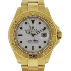 Pre-Owned Rolex 16628 Yachtmaster 18k Yellow Gold White Dial Watch Y... ($16,995) ❤ liked on Polyvore featuring men's fashion, men's jewelry, men's watches, watches, mens white dial watches, pre owned mens rolex watches, rolex mens watches, mens sport watches and mens gold watches