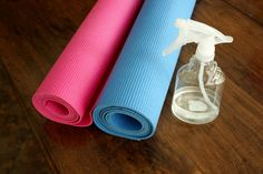 Homemade yoga mat cleaner. Buy your spray bottles online in bulk and have them handy in your studio.