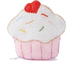 Frankie & Stein Pink Hand-Beaded Cupcake Coin Purse ($15) ❤ liked on Polyvore featuring bags, wallets, zipper wallet, beaded change purse, zippered change purse, pink coin purse and change purse
