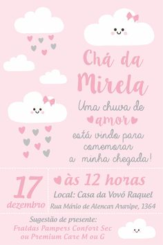 Arte digital convite para cha de bebe - nuvem azul OU rosa - no Girl Baby Shower Decorations, Pink Clouds, Shadow Puppets, Digital Scrapbook Paper, Baby Shower Invitations, Alice, Place Card Holders, Diy, Party
