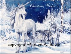 """A fantasy Christmas card using my own art.  Available at  www.etsy.com/shop/originalsandmore This one is """"Sensing Danger""""."""