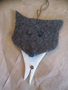 Felted Wool Wolf Ornaments for Cub Scouts