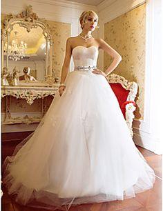 Vestido de Boda - Marfil Corte Evasé Barrida - Sweetheart Tul/Satén Tallas Grandes