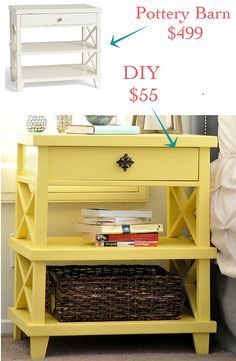 Build this Pottery Barn inspired DIY Clara Lattice bedside table for only $55! Step by step nightstand build tutorial and free Plans!