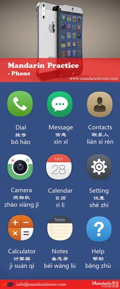 phone icons in Chinese.For more info please contact: bodi.li@mandarinh... The best Mandarin School in China.