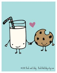 Milk Loves Cookie 8.5 X 11 Illustration Print By Buck And Libby We Belong Together Series