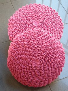 Pink crochet pillow