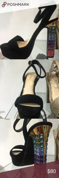 • Jessica Simpson Banda Platform Sandals • NIB The Banda is a stand out platform sandal with a accented chunky heel. Features an adjustable strap for a secure fit. Size: 8.5  Color: Black Lux Kidsuede with beads on the heels - new in box Jessica Simpson Shoes Platforms