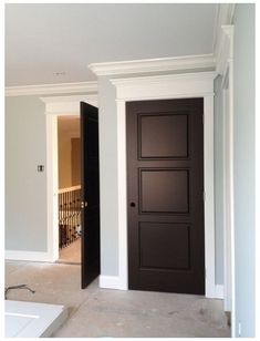 Dark Doors, Brown Doors, Grey Doors, Brown Interior Doors, Interior Door Colors, Grey Walls White Trim, Pale Blue Walls, Black Trim, White Baseboards