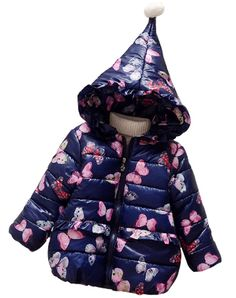 798a28fffec6 LUKYCILD Baby Girl Butterfly Coat Warm Hooded Outwear Jacket. Material   Cotton Blend Comfortable to