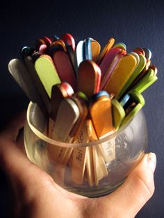 """""""what is for dinner"""" Color code popsicle sticks by category (poultry, beef, seafood, vegetable, breakfast, No cook meals, pasta etc etc- ) and write recipe names on the sticks (at least 5 recipes for each so you have options) once you pull the recipe turn it upside down in the jar so you rotate your dishes out without pulling the same one too often :) add new sticks with new recipes often - put a recipe on each side of the stick"""
