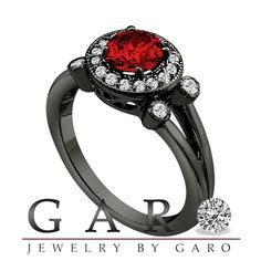 1.01 Carat Fancy Red Diamond Engagement Ring 14K Black Gold Vintage Style Halo…