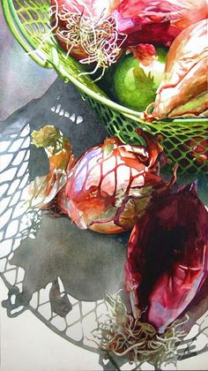 Artist: Robin Erickson, watercolor {contemporary botanical art still life vegetables painting #loveart}: