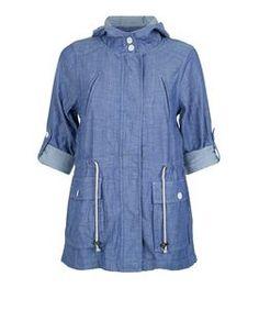 Brave Soul Blue Hooded Roll Sleeve Jacket | New Look