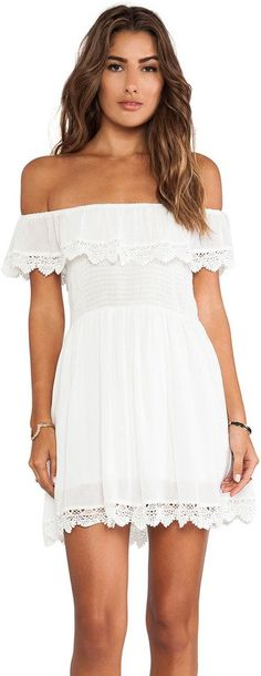 Pin for Later: The New Festival Trend That Needs to Happen IRL Raga White Lace Off-the-Shoulder Dress A breezy style like this one ($96), with lace trim at the top and bottom, might be the most perfect item to pack for your next warm-weather vacation.