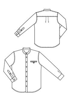Men's crease shirt pattern by Burdastyle.  Mandarin collar.