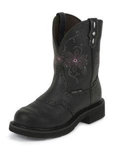 """I think I just found my new motorcycle riding boots. :) Justin Women's Black Pebble Grain 8"""" Waterproof Gypsy Round Steel Toe Boot."""