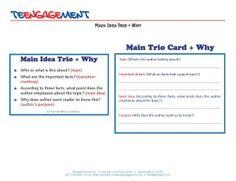 Main Idea Trio Card reading strategy #teengagement #literacy