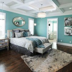 Bedroom Photos Accent Wall+turqouise+grey Design, Pictures, Remodel, Decor and Ideas - page 4