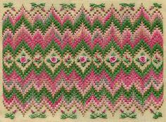 "Bargello & Roses "" 9.5""h x 13""w on 18 ct eggshell canvas Pattern: $13.00 - by Laura J Perin Designs"