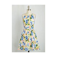 Mid-length Sleeveless A-line Ain't Seen Nothing Yacht Dress ($70) ❤ liked on Polyvore featuring dresses, apparel, fashion dress, multi, flower print dress, coral sleeveless dress, coral dress, green floral dress and sleeveless a line dress