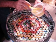 Bottle Cap Table with Poured Resin Surface DIY Project