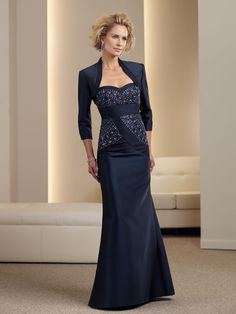 Sheath/Column Sweetheart Taffeta Dark Navy Mother of Bridal Dress With Beading #USAFF496
